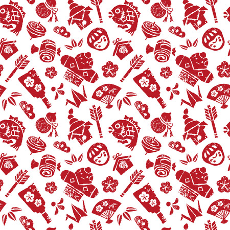 gourds: Japanese new year seamless pattern on white background