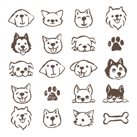 Different types of dogs icon set, Brown on white background