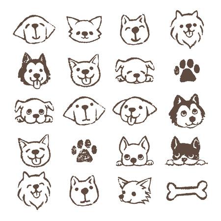 Los diferentes tipos de perros conjunto de iconos, de Brown en el fondo blanco