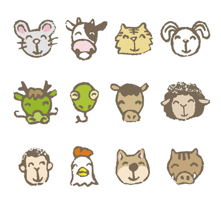 Twelve Chinese zodiac animals, color on white background 일러스트