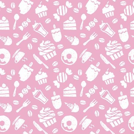 お菓子、コーヒー、スプーン、ナイフ、フォークのシームレス パターン