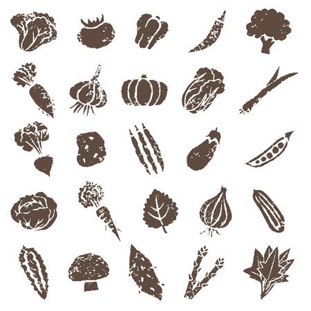 様々 な野菜のアイコン イラストを茶色の設定