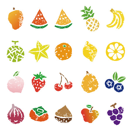 Various fruits icon illustration set in color