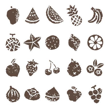 茶色の色で様々 な果物のアイコン イラストを設定