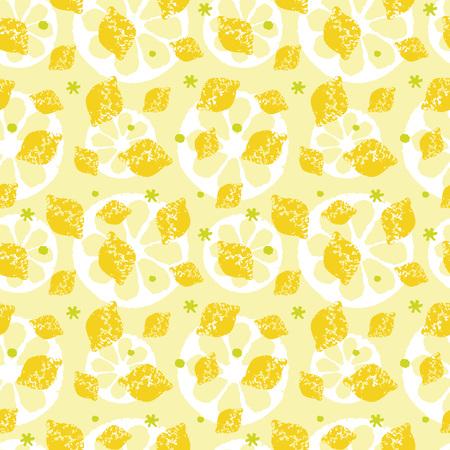 レモンとスライス レモン黄色と緑のパターン