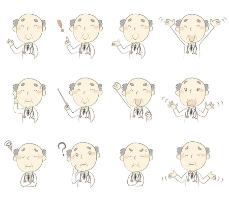 middle age: Set of poses, middle age doctor wearing white robe Illustration