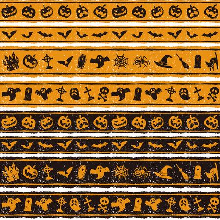 Halloween border design with jack o lantern, bat, ghost grave and spider Illustration