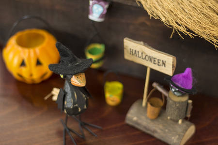Halloween image with a crow, a Jack o lantern and a black cat Stock Photo