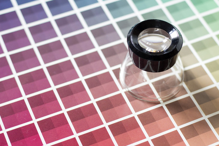 color chart: A magnifier on a color chart book Stock Photo