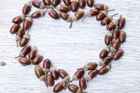 painted wood: Heart shape frame of acorns on painted wood board
