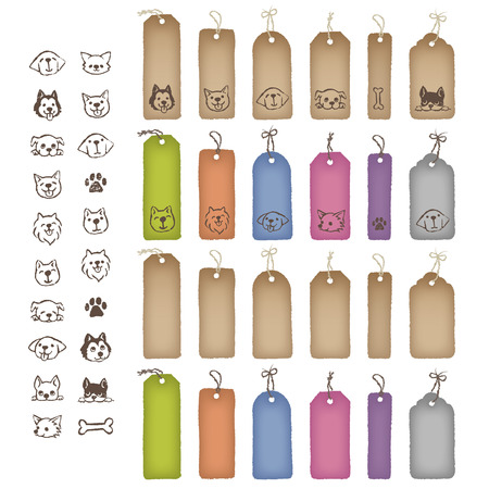 golden retriever puppy: Various shaped colorful price tags and dog illustrations