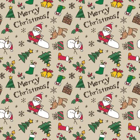 Christmas pattern, Santa Claus, reindeer, Christmas tree, snowman and snowflake