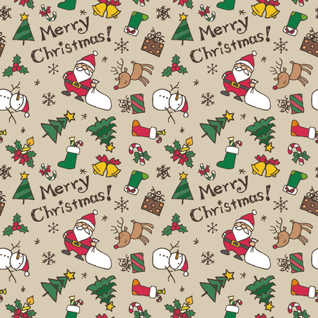 Christmas pattern, Santa Claus, reindeer, Christmas tree, snowman and snowflake