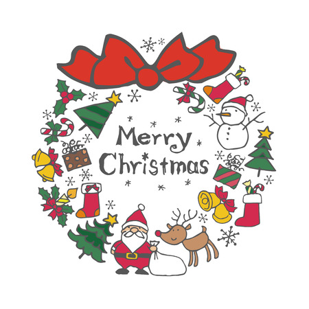 Christmas wreath with christmas elements (Santa Clause, Christmas tree, reindeer, snowman, bell, Christmas gift, candle, candy cane, Christmas stocking and holly)