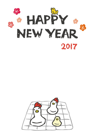 new year card with chicken and chick shaped rice cake on a grill stock vector