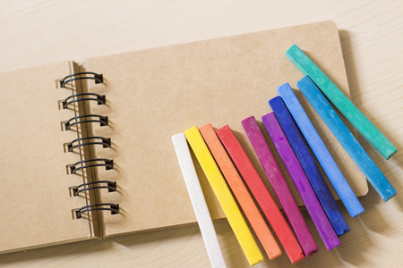 spiral binding: Colorful pastels on a btoen sketch book