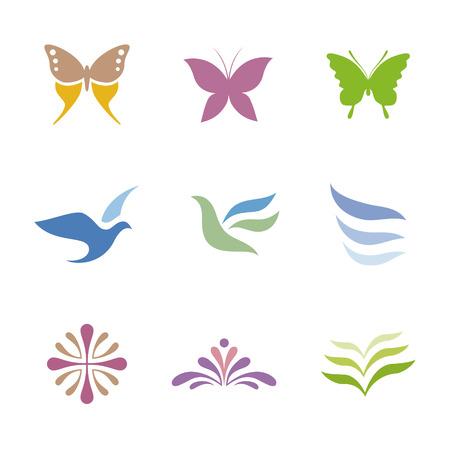 Set of icon symbols for logo design (butterfly, bird and flower) Ilustração