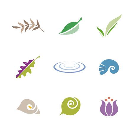 Set of icon symbols for logo design (leaf, shell, flower and ripple) Ilustração