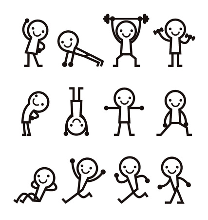 Set of simple exercising pose icon in black 矢量图像