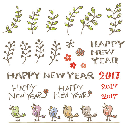 Colorful little birds plants and new year greeting words royalty colorful little birds plants and new year greeting words stock vector 68338851 m4hsunfo