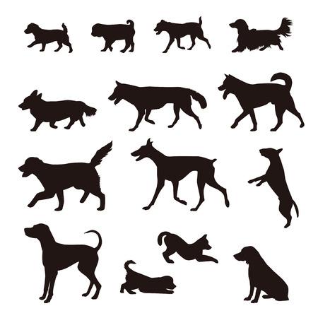 Different kinds of dog silhouette, Shiba, Akita, Golden retreaver, Beagle, German Shepherd, Golden Retriever, Jack Russell Terrier, Corgi, Hound dog, Pug, Dalmatian, Dachshund