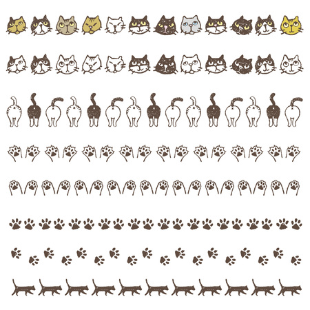 Decorated border lines with different cats, paws and buttocks