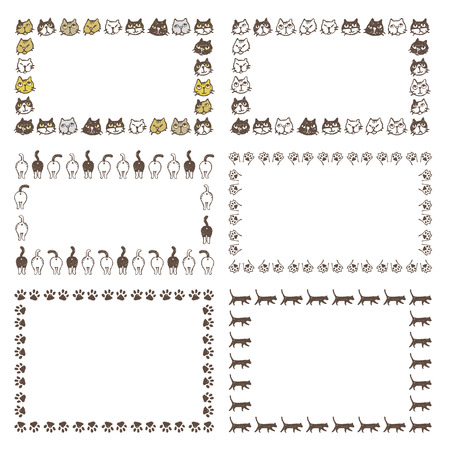 Decorated frames with different type of cats, buttockesm, paws and walking cats