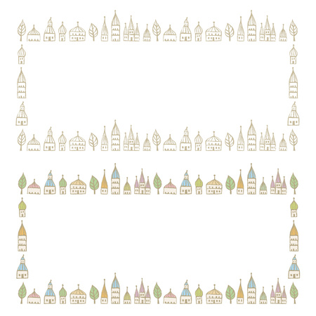 marcos decorados: Decorated frames with pointed roofed cute houses in soft colors Vectores