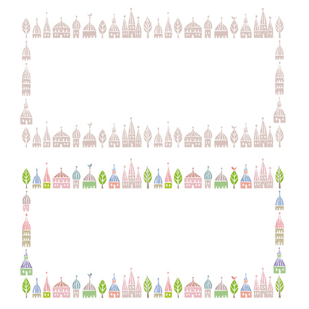 Decorated frames with pointed roofed cute houses in soft colors 矢量图像