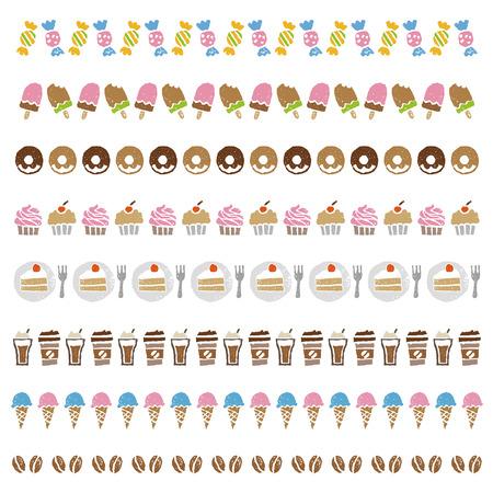 お菓子、アイス キャンデー、ドーナツ、カップ ケーキ、ケーキ、アイスクリーム、コーヒー、コーヒー豆の装飾的な罫線  イラスト・ベクター素材