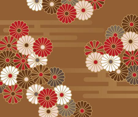菊の和風花柄