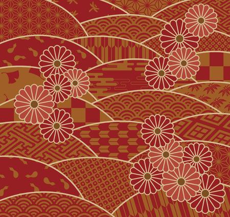 波と菊として日本の伝統文様