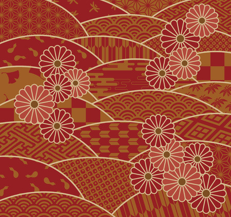 Japanese traditional patterns as wave and chrysanthemum