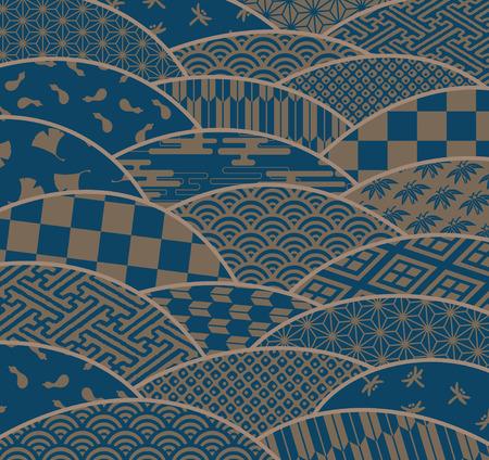 日本の伝統的なパターン波形、菊  イラスト・ベクター素材