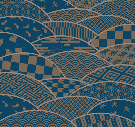 Japanese traditional patterns in wave shape and chrysanthemum