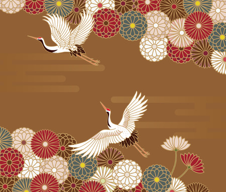 Cranes and chrysanthemums Japanese traditional pattern in gold background Illustration