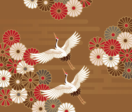 Cranes and chrysanthemums Japanese traditional pattern in gold background Ilustração