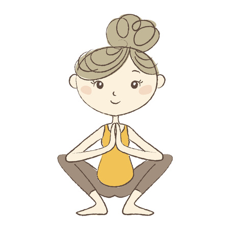 pregnancy exercise: Prenatal Yoga, a pregnant woman in squat pose Illustration