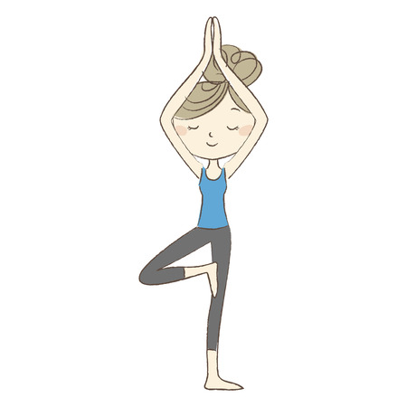 Yoga exercise, a woman in tree pose Illustration