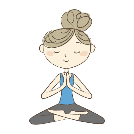 Yoga exercise, a woman meditating in easy pose