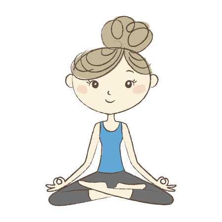 Yoga exercise, a woman in easy pose Illustration