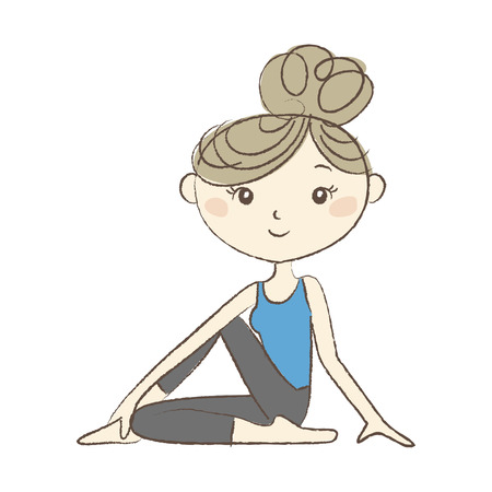 Yoga exercise, a woman in Lord of the Fish Pose