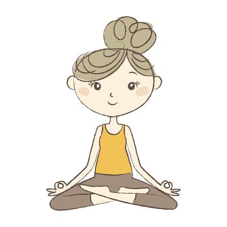 Prenatal Yoga, a pregnant woman in easy pose