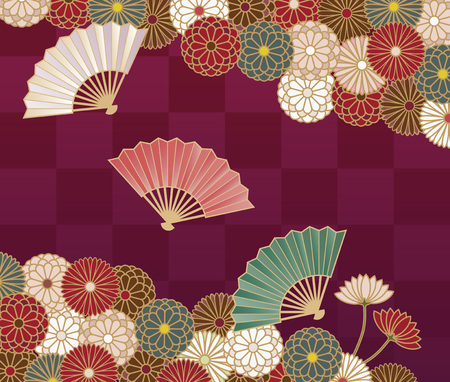 Japanese traditional chrysanthemum floral pattern and hand fan
