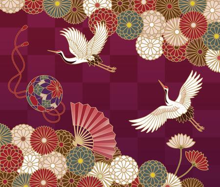 Cranes, handball, hand fan and chrysanthemums Japanese traditional pattern
