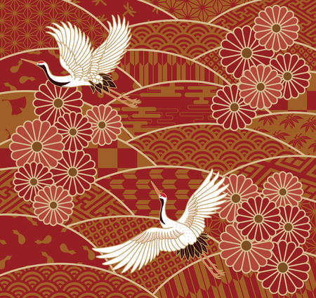Two cranes and chrysanthemums Japanese traditional wave pattern