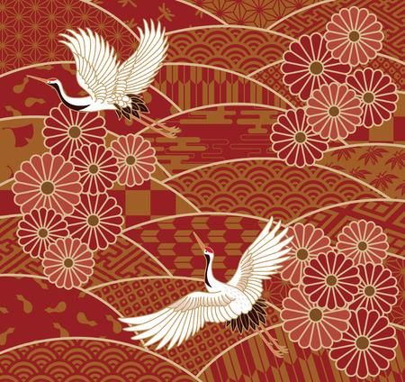 Zwei Kräne und Chrysanthemen traditionellen japanischen Wellenmuster Vektorgrafik