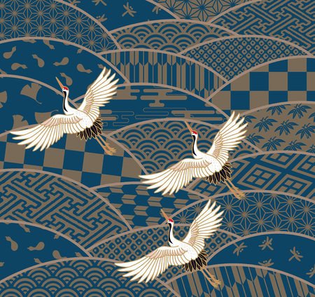 Three cranes and multi-patterned Japanese traditional pattern