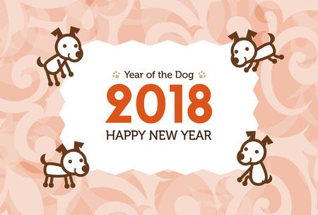 dog: Happy New Year Card 2018, year of the dog illustration