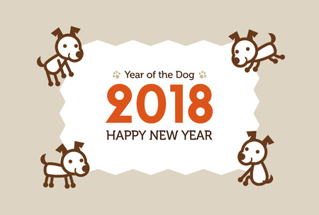 cute dog: Happy New Year Card 2018, year of the dog illustration
